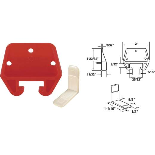 """Prime-Line 13/16"""" x 25/32"""" Polyethylene Track Guide, White and Red (2 Count)"""