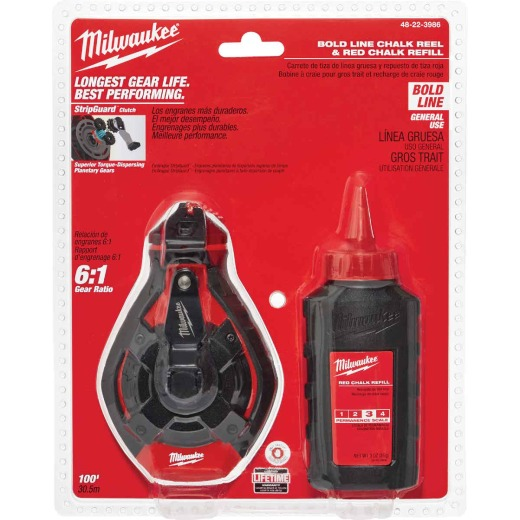 Milwaukee 100 Ft. Bold Chalk Line Reel and Chalk, Red