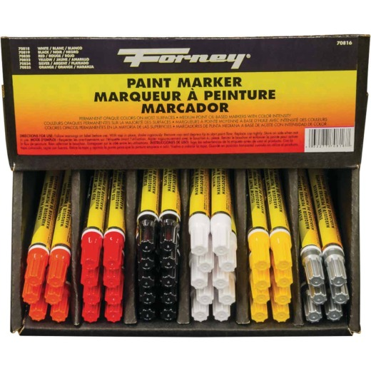 Forney 48-Piece Nib Point Paint Marker Display Set