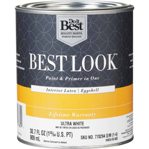 Best Look Latex Paint & Primer In One Eggshell Interior Wall Paint, Ultra White, 1 Qt.